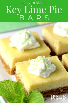 Easy Key Lime Pie Bars Renees Kitchen Adventures easy dessert recipe for key lime pie bars made with key lime juice condensed milk and eggs Lime Squares Recipes, Lime Bar Recipes, Key Lime Squares, Key Lime Desserts, Easy Desserts, Delicious Desserts, Lime Dessert Recipes Easy, Plated Desserts, Healthy Desserts