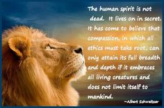The human spirit is not dead.  It lives on in secret.  It has come to believe that compassion, in which all ethics must take root, can only attain its full breadth and depth if it embraces all living creatures and does not limit itself to mankind.  - Albert Schweitzer