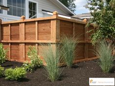 This is the view of this custom wood privacy fence style from outside the fence.