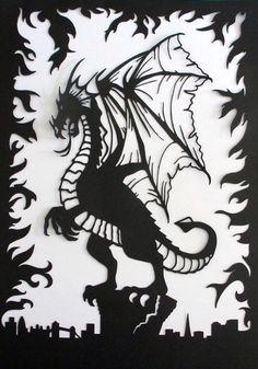 Paper cut art ~ Fantasy theme ~ Dragon ~ London skyline ~ fire emblem ~ mystical ~ mythical ~ beast ~ paper sculpture ~ Warcraft ~ clash by evescrafts on Etsy https://www.etsy.com/ca/listing/268198813/paper-cut-art-fantasy-theme-dragon