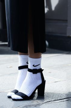 Love this socks and heel look