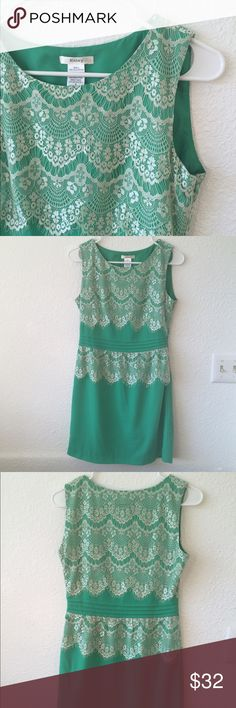 Green and white lace dress Brand new. Beautiful lace dress. Esley Dresses Mini
