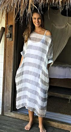 60 Spring Dresses To Look Cool Striped Maxi Dresses, Linen Dresses, Casual Dresses, Dresses Dresses, Maxi Dress With Sleeves, The Dress, Modest Fashion, Fashion Outfits, Quoi Porter