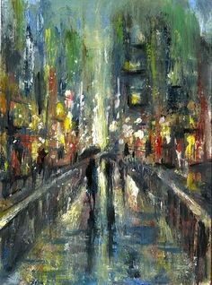 ACEO Original oil rain city night light streets landscape painting art card sign #Abstract