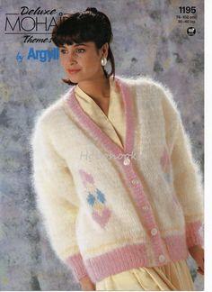womens diamond pattern mohair cardigan knitting by Hobohooks