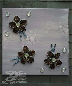 Keilrahmen kombiniert mit Nespressoblüten von KreativeFantasy.