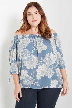 Blue Dakota Floral Off the Shoulder Top Plus Size – Poshsquare