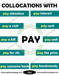 Collocations With PAY in English - English Study Page English Prepositions, Learn English Grammar, English Writing Skills, English Idioms, Learn English Words, English Phrases, English Language Learning, English Study, English Lessons