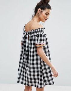 ASOS Rik Rak Gingham Off Shoulder Dress with Shirring Detail