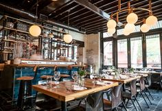 The Dutch features classic New York and American design elements. The cool globe fixtures were inspired by the lights at The Waffle House!