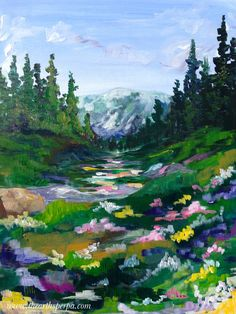 Mountain Meadow for the full youtube how to paint landscapes in acrylic real time art lesson :) on youtube by the Art Sherpa https://www.youtube.com/watch?v=_Fny1BwSeuQ
