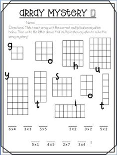 Hooray For Arrays! Teaching Multiplication, Multiplication And Division, Teaching Math, Multiplication Sheets, Multiplication Strategies, Math Math, Math Fractions, Math Games, Array Worksheets