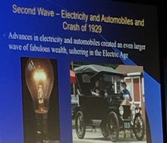 """Jennifer Womble @JenWomble  Where does wealth come from? @michiokaku """"From science & #Technology"""" #ISTE2016 #STEM What is the 4th wave?"""