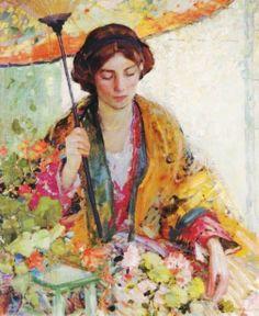 Richard Edward or Emil Miller (American artist, 1875-1943) Woman with Parasol