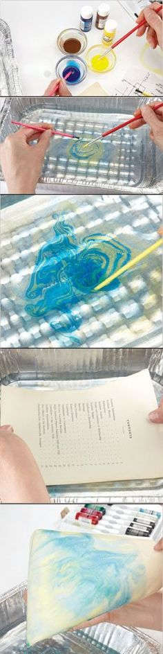 Cool! A DIY way to make marbled papers for collage art! | Demo by Crystal Neubauer, author of The Art of Expressive Collage, featured at ClothPaperScissors.com. Can I do this with fabric???
