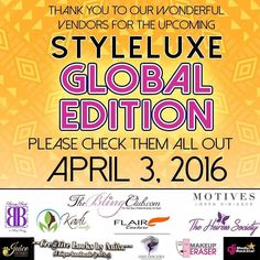 Check out some of the vendors that will be at #styleluxe2016 on April 3rd from 2-6pm. You haven't registered be sure to head over to styleluxe.eventbrite.com #fun #food #fashion #beauty #vendors. by thediamondbutterfly