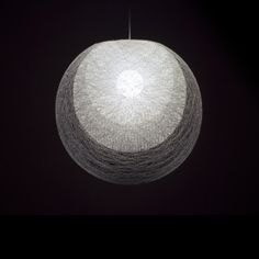 Places and Spaces — Mayuhana PE101, design Toyo Ito, brand Yamagiwa - fibre glass string, like a cocoon or Japanese Bonbori. table floor or pendant (as here) options