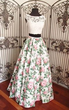Formal Prom Dresses, asa line ivory pink print beaded lace two piece long prom dress Brickell Bridal Indian Designer Outfits, Designer Dresses, Trendy Dresses, Fashion Dresses, Fashion 2018, Trendy Fashion, Fashion Tips, Lehnga Dress, Indian Gowns Dresses