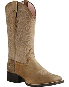 Ariat Rich Brown Round Up Remuda Cowgirl Boots - Square Toe , Sand, hi-res Ariat Boots Womens, Cowboy Boots Women, Western Boots, Cute Cowgirl Boots, Western Wear, White Boots, Brown Boots, Black Leather Shoes, Black Shoes