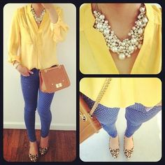 Pretty yellow blouse and statement necklace!