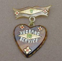 Husband in Service Heart Pin Vintage Celluloid Sweetheart Jewelry circa WW II
