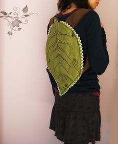 Green leaf boho backpack by Leooni on Etsy, €40.00