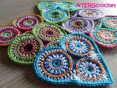 Crochet pattern colorful circle heart by por ATERGcrochet en Etsy