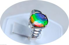 Ammolite Jewelry--12x10mm Ring Bright Flashy RED Green Blue Color Bands 925 Solid Sterling Silver | eBay--Size 7--SOLD
