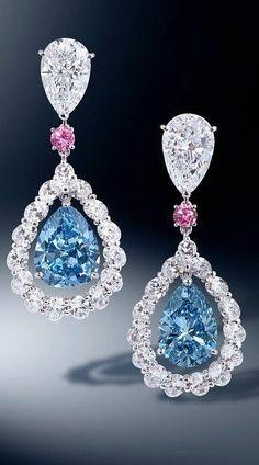 Diamond, Blue Diamond and Pink Sapphire Earrings. #AmazingJewelry