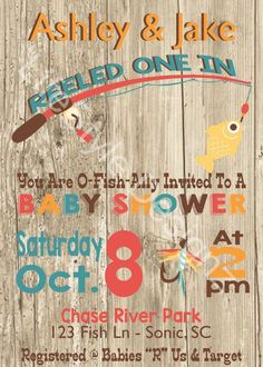 Fishing Baby Shower Invitation They Reeled One In Little