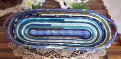 HANDMADE COILED COTTON FABRICS BASKET ROPE QUILTED GREENS BLUES SERVING PLATE #Handmadebyrivkafilin