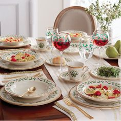 The Holiday Dinnerware Set is crafted from durable ivory bone china with gold accents. A charming holly and berry motif graces the surface. Set includes four dinner plates, four salad plates and four mugs. Christmas China, Christmas Dishes, Christmas Makes, All Things Christmas, Lenox Christmas, Fine China Dinnerware, Dinnerware Sets, White Dinnerware, Christmas Table Settings