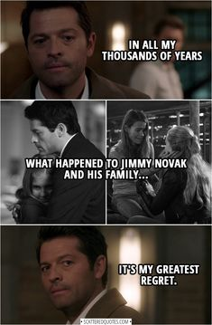 Here are the Top 15 Castiel quotes from the supernatural series. Supernatural Bloopers, Supernatural Tattoo, Supernatural Imagines, Supernatural Wallpaper, Supernatural Memes, Castiel, Bobby Singer, One Liner, Superwholock