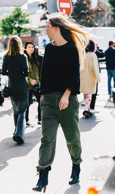 We have a feeling you'll want to live in this ensemble of a cashmere knit and military-inspired trousers on the weekend.