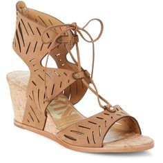 Dolce Vita Saddle Langly Cutwork Wedge Sandals ($60) ❤ liked on Polyvore featuring shoes, sandals, brown, brown shoes, high heel shoes, brown wedge shoes, open toe wedge sandals and wedge sandals
