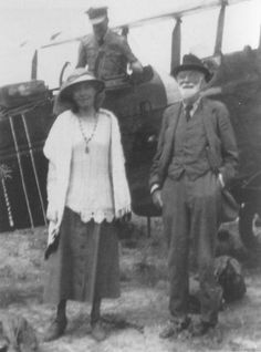 Gertrude and Sir Hugh Bell in front of her aeroplane