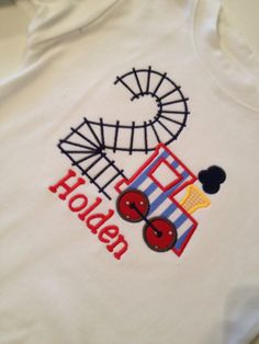Choo Choo Train Tracks Personalized Birthday shirt by grammeshouse, $24.00