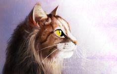 """Time: 2 hours. What was used: #Huion Tablet; Photoshop CS4."" Digital Sketch ~ Cat by Jcat4ever2.deviantart.com on @deviantART"