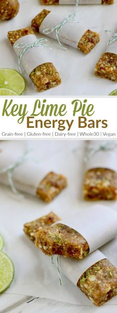 Key Lime Pie Energy Bars The bars are a knockoff of the fruit and nut bars everyone loves. Feel free to roll them into balls for a bite-sized treat or add a scoop or two of collagen a little protein boost Paleo Gluten-free Grain-free Dairy-free Paleo Recipes, Whole Food Recipes, Snack Recipes, Bar Recipes, Key Lime Pie, Key Lime Bars, Paleo Energy Bars, Protein Bars, Homemade Energy Bars
