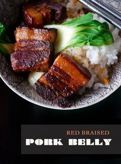 """Red Braised Pork Belly _ In America, comfort food usually means burgers, fries, chicken pot pies, but growing up in a Chinese household it was more like fried rice, stir-frys and red braised pork belly or """"Hong Shao Rou""""."""