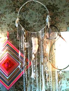 picture the circle being flat, with the ribbons hanging all around to create the hanging centrepiece. different size circles inside each other to create thickness
