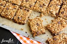 Chocolate Chip Granola Bars - www.afarmgirlsdabbles.com from Weelicious Lunches