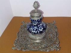 Victorian Flow Blue Brass Inkwell 1800s Desk Stand