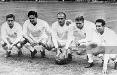 Football, 11th July 1958, Real Madrid forward line of legends, (Left to right) Raymond Kopa (France), Hector Rial (Argentina), Alfredo di Stefano (Argentina), Ferenc Puskas (Hungary), Francisco Gento