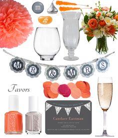 Bridal Shower inspiration #coral #grey #weddings