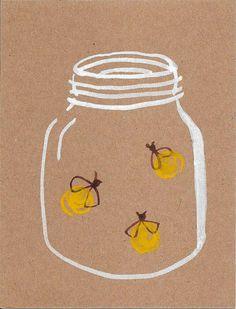fireflies watercolor