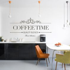Wall Quote Text Vinyl for Housewares Coffee Time
