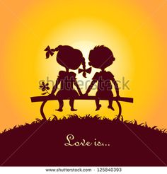 Sunset silhouettes of a boy and a girl sitting on a bench