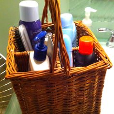 Small bathroom, less mess idea. Hair products, brush, lotion, deodorant even your toothbrush in a cup.  All your everyday morning supplies in one basket under the sink, once your done everything goes back under your sink leaving you counter top clutter free.