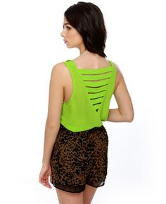 Laterally Speaking Lime Green Tank Top